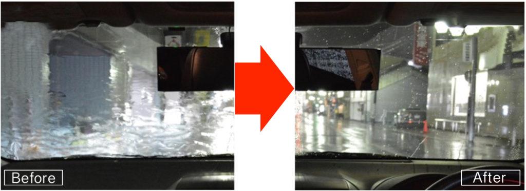 東京の出張洗車コーティング窓の油膜除去ウィンドウコーティング